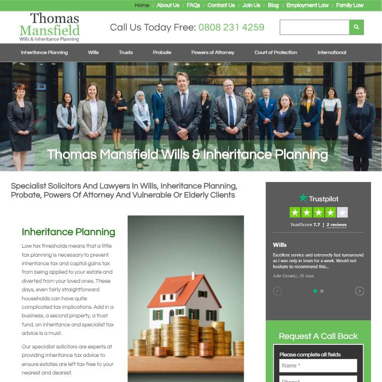 Webworks UK Design And Development Thomas Mansfield Wills & Inheritance Planning Solicitors