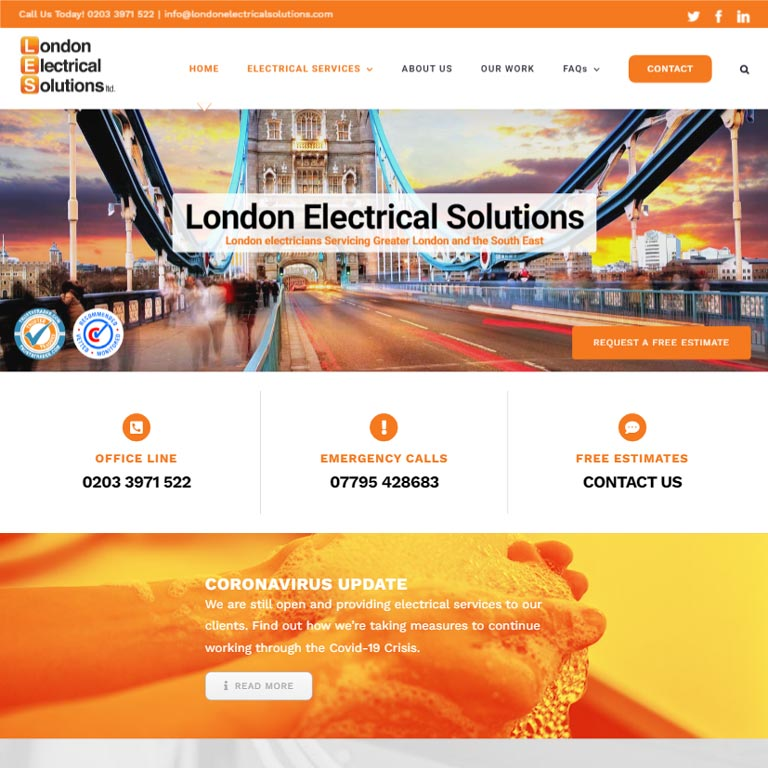 London Electrical Solutions Website Deisgn By Webworks